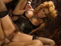 Lea Martini rides Eros Cristaldi's pulsing boner in a vintage scene