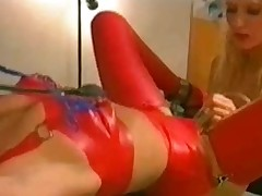 Hot mistress uses toys and pumps on her slave girl