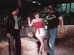 2 guys have kidnapped a girl. She is topless as one of them ties her up in order to have sex with her but the other guy objects and they nearly get into a fight. They settle down and one guy and the girl start fucking in the hay. Then the door opens and