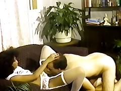 Petite tittted Nubian seduces chap