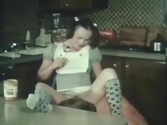 Teen in a super cute dress screwed in vintage porn