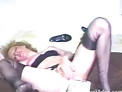 Vintage hairy girl in nylons bonks a toy