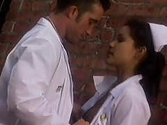 Sweet nurse takes a break from work to fuck in the backyard of the clinic