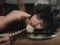 Playgirl on phone fucked in vintage video
