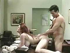 A guy walks into an doctors office where this chab is welcomed by a busty nurse. A little later this chab is naked and sitting on top of her desk while she gives him a blow job. Then this chab fucks her on top of the desk until this chab comes on her belly.